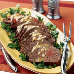 Roasted Beef Tenderloin with Sherry Vinaigrette and Watercress recipe