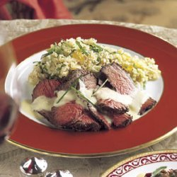Grilled Beef Tenderloin with Roasted Garlic Sauce and Leek-Tomato Quinoa recipe