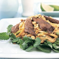 Soy-Ginger Beef and Noodle Salad with Peanut Dressing recipe