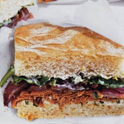 Roast Beef Sandwiches with Lemon-Basil Mayonnaise and Roasted Red Onions recipe