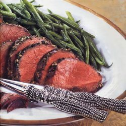 Herb and Garlic-Crusted Beef Tenderloin with Red and Yellow Pepper Relish recipe