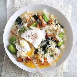 Spring Vegetable Risotto with Poached Eggs recipe