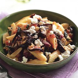 Penne with Grilled Eggplant and Radicchio Sauce recipe