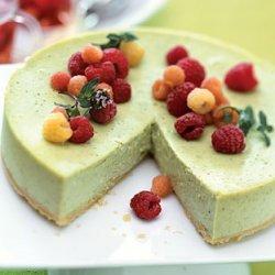 Green Tea Cheesecake with Raspberries and Raspberry-Mint Tisane recipe