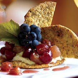 Pistachio Crisps with Mascarpone Cheese and Grape Compote recipe