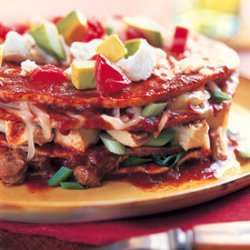 Stacked Enchiladas with Turkey and Chipotle Beans recipe