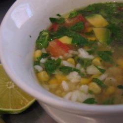 Chicken Rice Soup With Avocado recipe