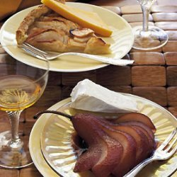 Wine- and Citrus-Poached Pears with Triple-Crème Cheese recipe