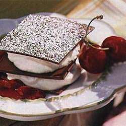 Chocolate Napoleons with Mascarpone Cream and Cherry Compote recipe