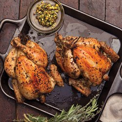 Roast Chickens with Pistachio Salsa, Peppers, and Corn recipe