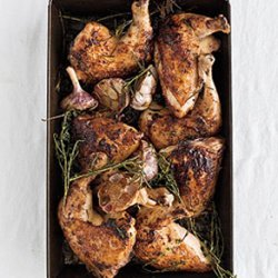 Roast Chicken with Herb-and-Garlic Pan Drippings recipe