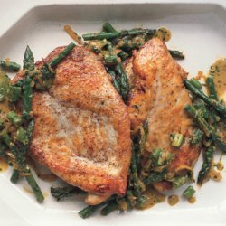 Sauteéd Chicken Cutlets with Asparagus, Spring Onions, and Parsley-Tarragon Gremolata recipe