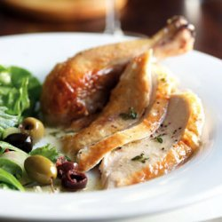 Roast Chicken with Mustard-Thyme Sauce and Green Salad with Olives recipe