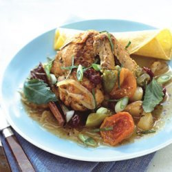 Chicken with Tomatillo Sauce and Braised Fruit recipe