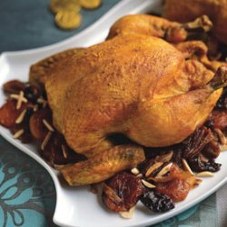 Roast Chicken with Dried Fruit and Almonds recipe