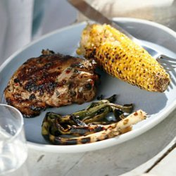 Grilled Spicy-Citrus Chicken Thighs with Corn and Green Onions recipe