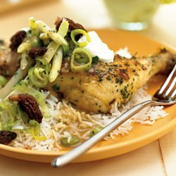Braised Chicken with White Asparagus and Morel Sauté with Crème Fraîche recipe