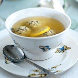 Lemon-Scented Chicken Soup with Parsley-Sage Matzo Balls recipe