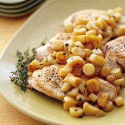 Sauteed Chicken with Parsnip, Apple, and Sherry Pan Sauce recipe