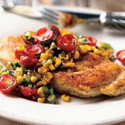 Chicken Paillards with Tomato, Basil, and Roasted-Corn Relish recipe