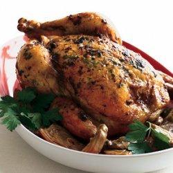 Roast Chicken with Artichokes and Gremolata Butter recipe