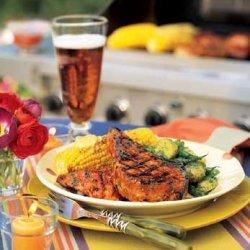 Grilled Chicken and Pork with Orange-Cumin Glaze recipe