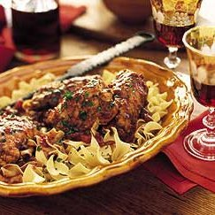 Chianti-Braised Stuffed Chicken Thighs on Egg Noodles recipe