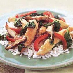 Velvet Chicken with Mushrooms, Spinach, and Ginger-Lemon Sauce recipe
