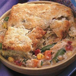 Chicken and Vegetable Pot Pies with Dilled Biscuit Topping recipe