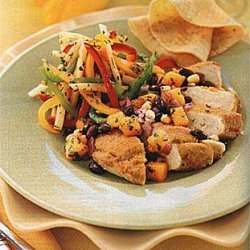 Chicken Breasts with Cornmeal-Coriander Crust and Black Bean-Mango Salsa recipe