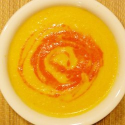 Carrot And Ginger Soup With Red Pepper Puree recipe