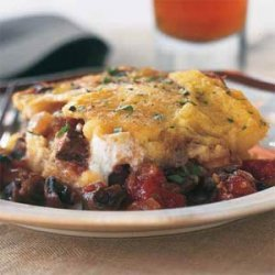 Polenta Casserole with Mushrooms, Tomatoes, and Ricotta recipe