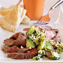 Flank Steak with Cucumber-Pepperoncini Relish recipe
