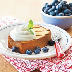 Grilled Pound Cake with Lemon Cream and Blueberries recipe