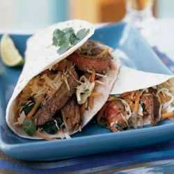 Thai Beef Tacos with Lime-Cilantro Slaw recipe