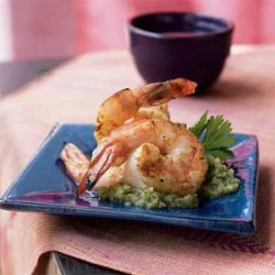 Black Pepper Shrimp with Coriander-Coconut Chutney recipe