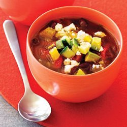 Black Bean Soup with Avocado, Orange, and Cucumber recipe
