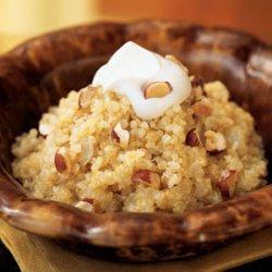 Quinoa and Onion Risotto with Crème Fraîche and Hazelnuts recipe