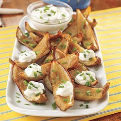 Potato Skins with Sour Cream and Chives recipe