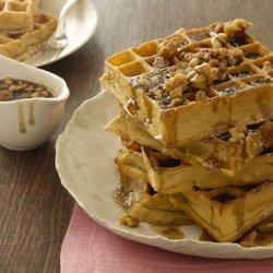Pumpkin Waffles With Maple-Walnut Syrup recipe