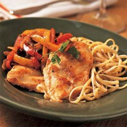 Chicken Breast Fillets with Red and Yellow Peppers recipe