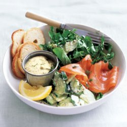 Smoked Salmon with Creamy Cucumber Salad recipe