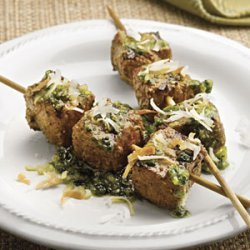 Curried Beef Kabobs With Jade Sauce recipe