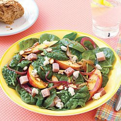 Warm Spinach Salad with Red Onions and Nectarines recipe