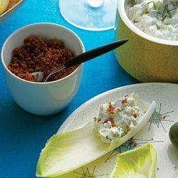 Endive  Chips  with Blue Cheese Dip and Bacon Dust recipe
