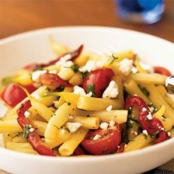 Wax Bean, Roasted Pepper, and Tomato Salad with Goat Cheese recipe