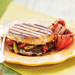 Grilled Portobello, Bell Pepper, and Goat Cheese Sandwiches recipe