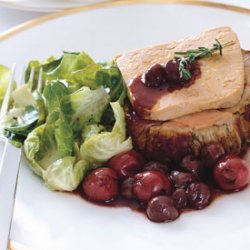 Roasted Loin of Veal with Foie Gras and Cherry-Red Grape Sauce recipe