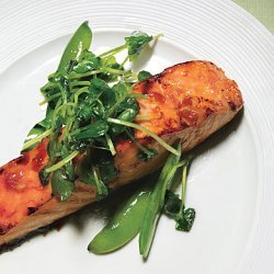 Salmon with Sweet Chili Glaze, Sugar Snap Peas, and Pea Tendrils recipe