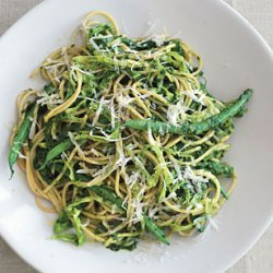 Multi-Grain Pasta with Sicilian Salsa Verde, Cabbage, and Haricots Verts recipe